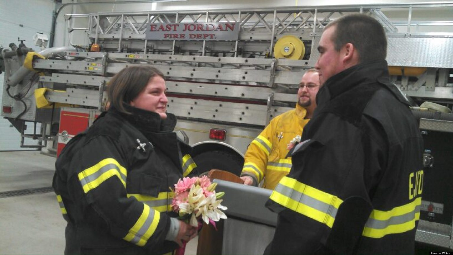 Firefighter Wedding Bride Surprised With At Fire Station