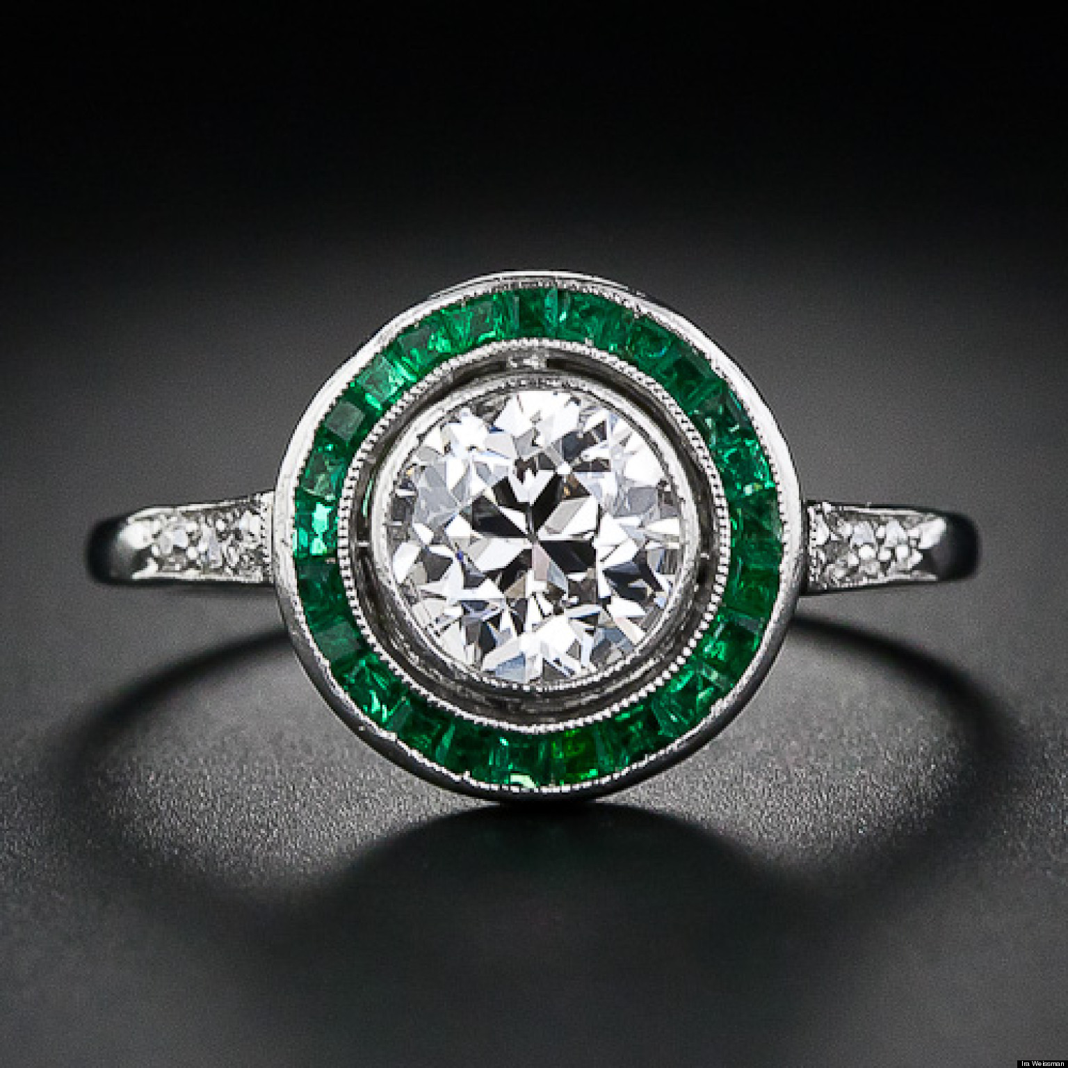 bishop emerald gold cluster and winsor diamond ring white