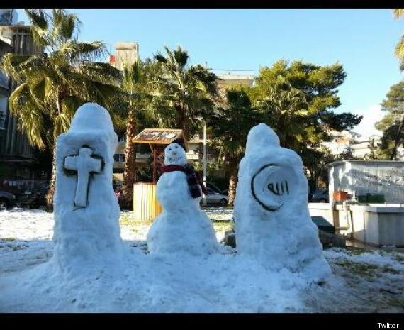 snowmen in damascus syria