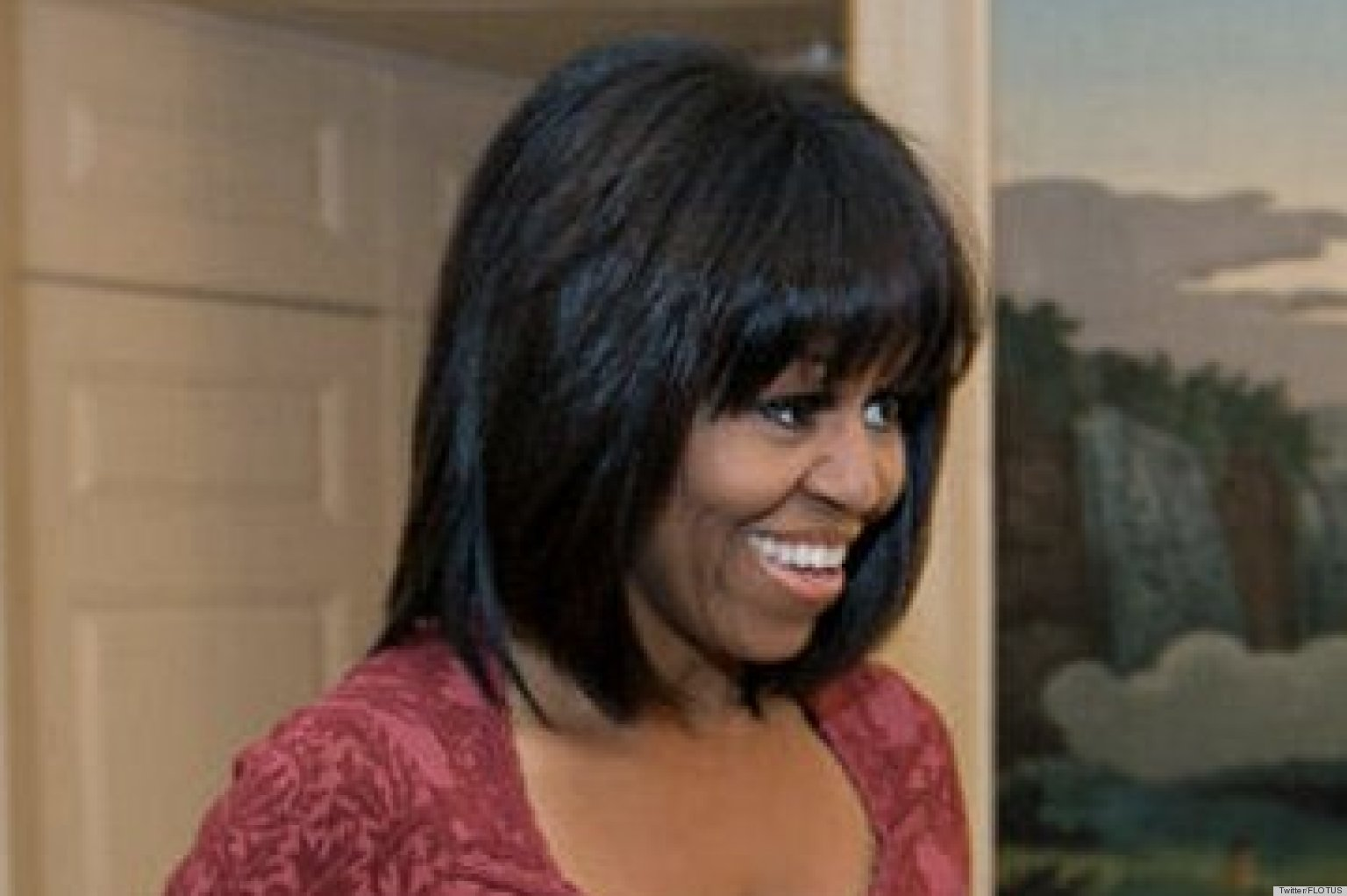 Michelle Obamas Bangs Are A Total Shock To The System Photo