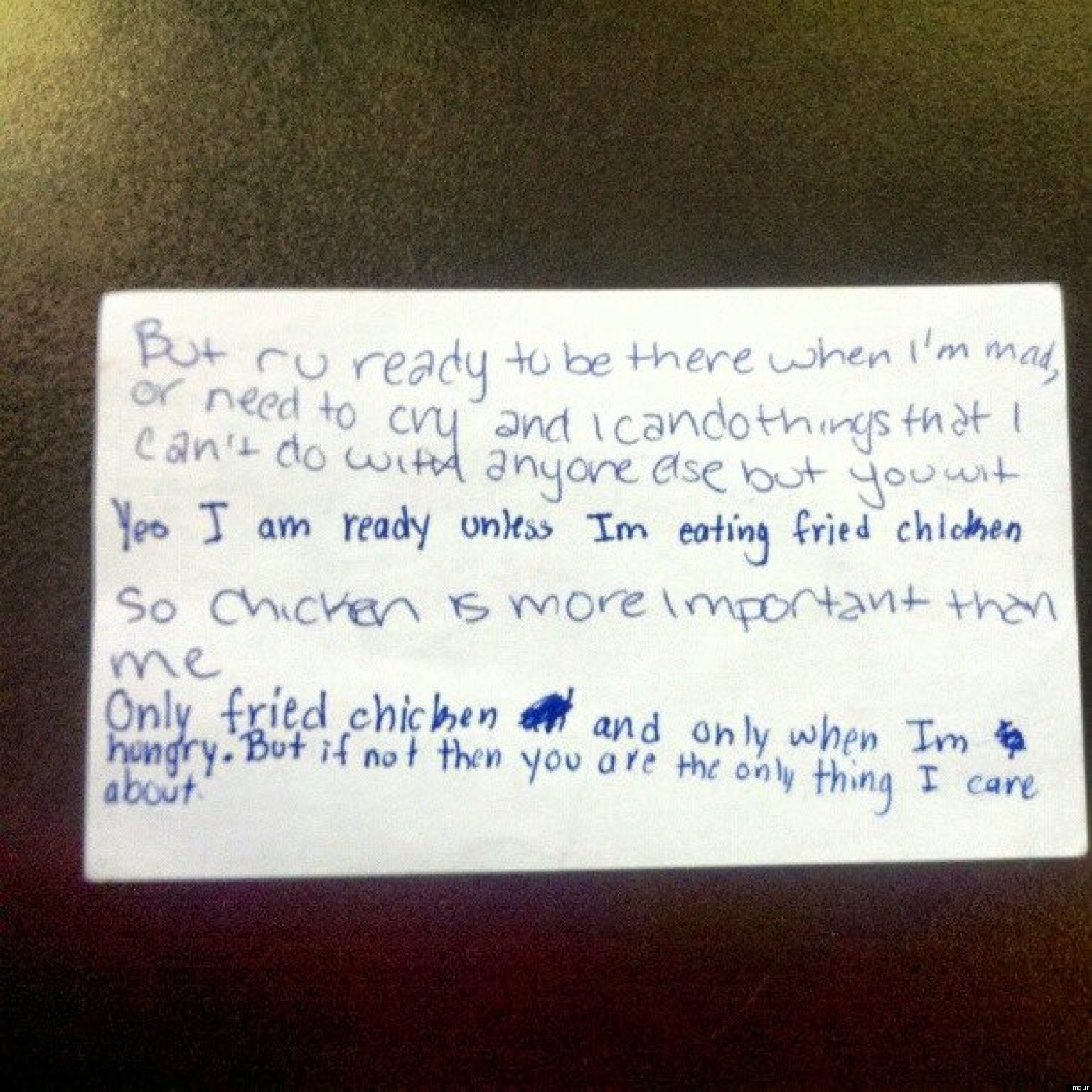 Honest Love Note Puts Fried Chicken Just Above Being There