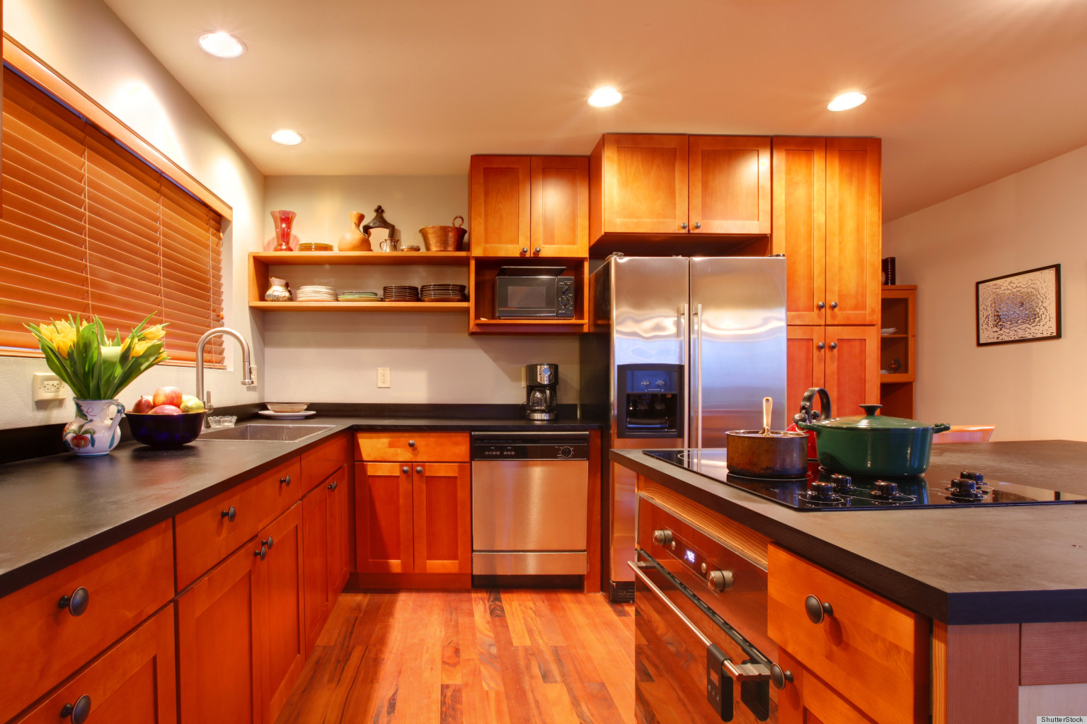 Clean your kitchen ceiling to remove cooking grime huffpost - Cleaning inside kitchen cabinets ...